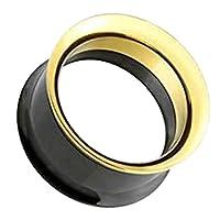 ボディピアス 8G レディース フレア プラグ トンネル 埋め込み型 耳用 ゴールドブラックネジフレア (サイズ) バラ売り プレゼント 耳 人気