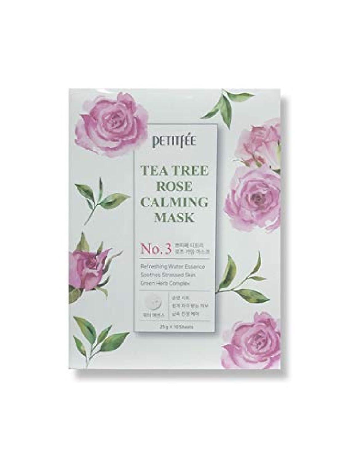 カートン三十賠償PETITFEE (プチペ) ティーツリーローズカーミングマスク25gx10P (保湿) / Tea Tree Rose Calming Mask