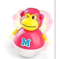KEANER 新生児 乳児 ロールポリ おもちゃ 実用的 教育的 愛らしい猿の音 タンブラー ラトル 知育玩具 (赤)