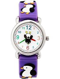 Jewtme 腕時計 子供用腕時計 少女少年用漫画時計 キッズ 年齢3-8歳 アナログ タイムティーチャー 3D シリコンバンド Penguin パープル