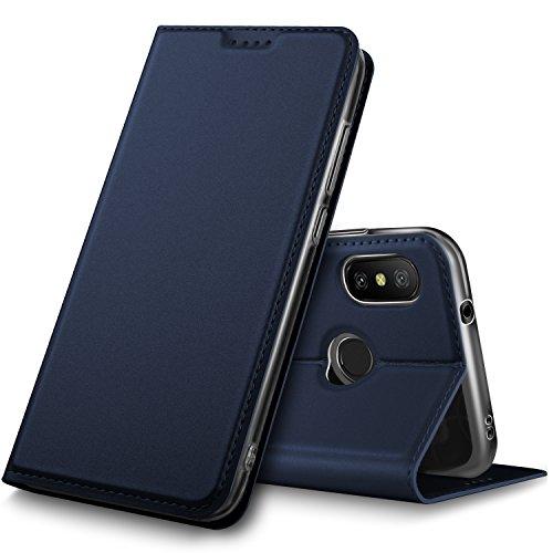 OPPO R15 Neo ケース KuGi OPPO R15 Neo カバー スタンド機能付き 手帳型ケース 横開き 耐衝撃 PUレザー カバー スマートフォンケース OPPO R15 Neo 携帯全面保護カバー 本体の傷つきガード ネイビー