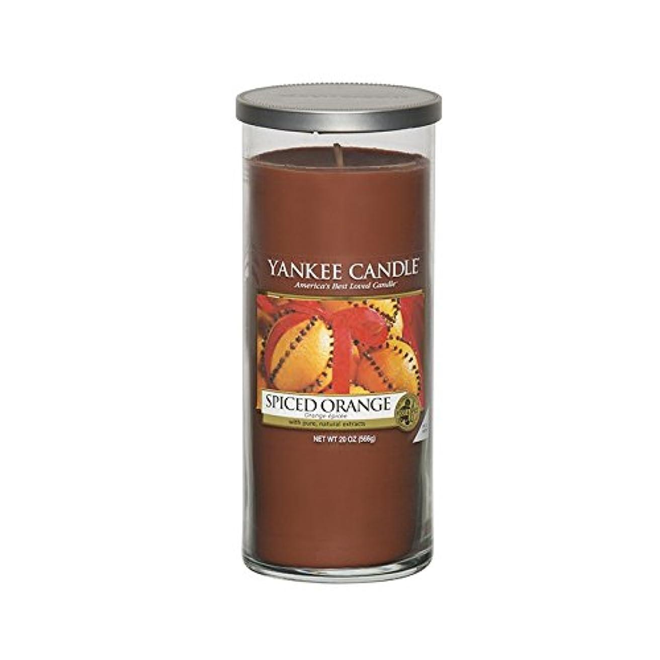 Yankee Candles Large Pillar Candle - Spiced Orange (Pack of 2) - ヤンキーキャンドル大きな柱キャンドル - スパイスオレンジ (x2) [並行輸入品]
