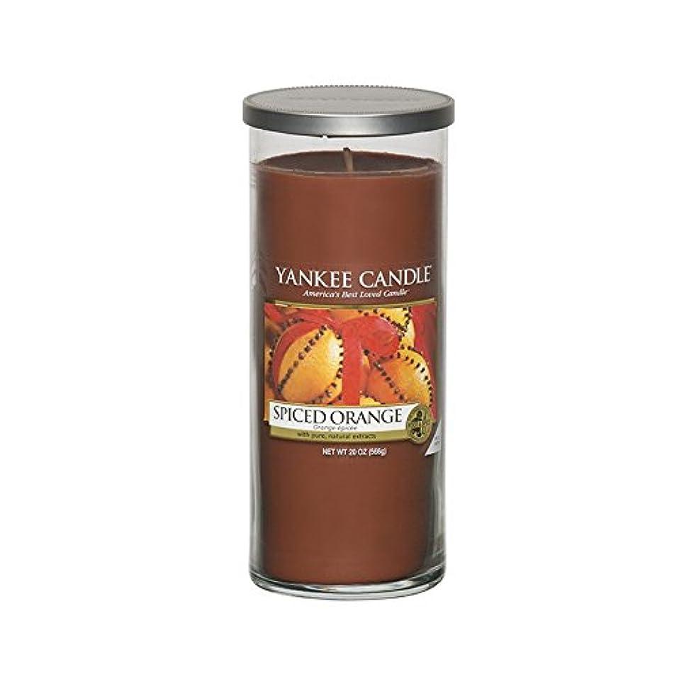 告白娘実装するYankee Candles Large Pillar Candle - Spiced Orange (Pack of 2) - ヤンキーキャンドル大きな柱キャンドル - スパイスオレンジ (x2) [並行輸入品]