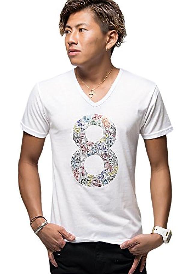 観点十一比較(キャバリア) CavariA CAST18-97 メンズ Vネック 半袖 Tシャツ ラインストーン