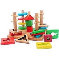 Kids木製幾何学図形MontessoriマテリアルAssemblingブロックカラフルSortingボードブロックセット幼児ギフト