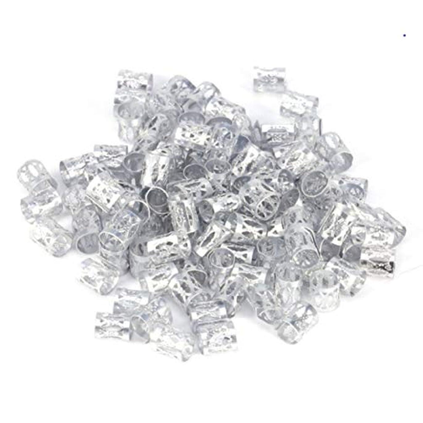 前書きコショウ接ぎ木フラワーヘアピンFlowerHairpin YHM 3 PCS Dreadlocksアルミライスビーズヘアアクセサリー(シルバー) (色 : Silver)