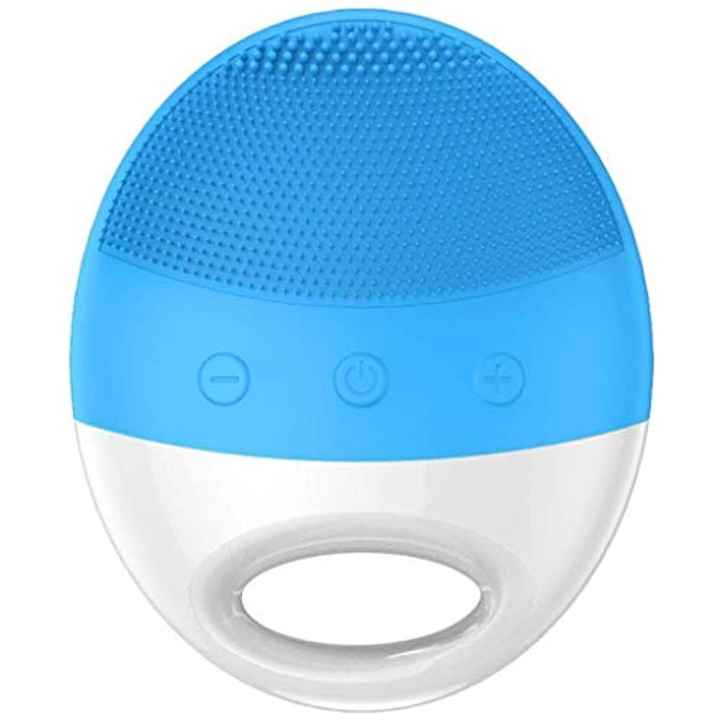 カスタム電子チャールズキージングクレンジングブラシ、シリコンクレンザー、すべての肌タイプのディープクレンジングに適した防水電動ディープクレンジングマッサージブラシ、やさしい角質除去、毛穴の改善、メラニンの減少 (Color : 青)