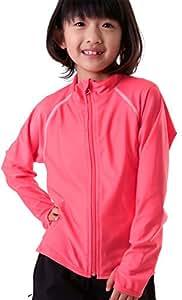 KICKS(キックス) 全20色柄 キッズ ラッシュガード 前開き フルジップ シャツ KJR-220 PNK 140サイズ 長袖 UVカット UPF50 + 指穴つき 子供 用 こども用 子ども用 ジュニア 水着 男の子用 女の子用 男児 女児 ピンク色