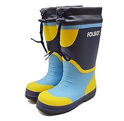 FOLBOT(フォルボット) ジュニア ボーイズ ガールズ キッズ スノーブーツ 防滑 防寒 長靴 子供用 紐付き長靴 ウレタン素材であったか防水防寒長靴 FB-04J ネイビー 22cm