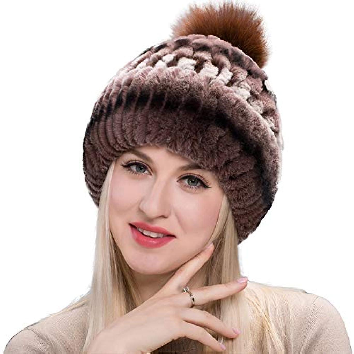 非行名声器具ACAO さんの秋と冬のファッションウサギの毛皮の草さん暖かいニット帽キツネの毛皮の帽子包頭のイヤーキャップ (色 : Coffee ridge, Size : L)