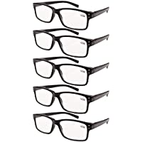 Eyekepper 5-pack Spring Hinges Vintage Reading Glasses Men Readers Black +2.5