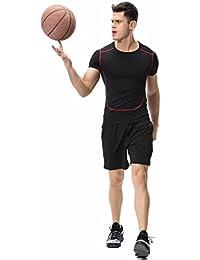 Kayiyasuジャージ上下セット メンズ Tシャツ トレーニングウエア ジム 半袖 吸汗速乾 008-sgt-l02 (XL 0155レッド)