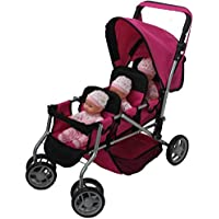 Mommy & Me TRIPLET Doll Pram Back to Back with Swiveling Wheels & Free Carriage Bag - 9668A [Floral] [並行輸入品]
