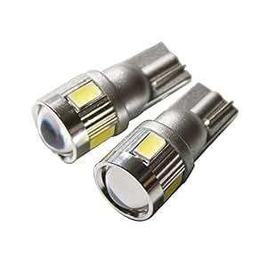 【e-auto fun】12/24V兼用LED T10 T16 新型 samsung 製 5630 ハイパワー SMD 6連 3ワット ホワイト発光 レンズ付き◎ポジション・バックランプ・ルームランプ・ドアランプ等に