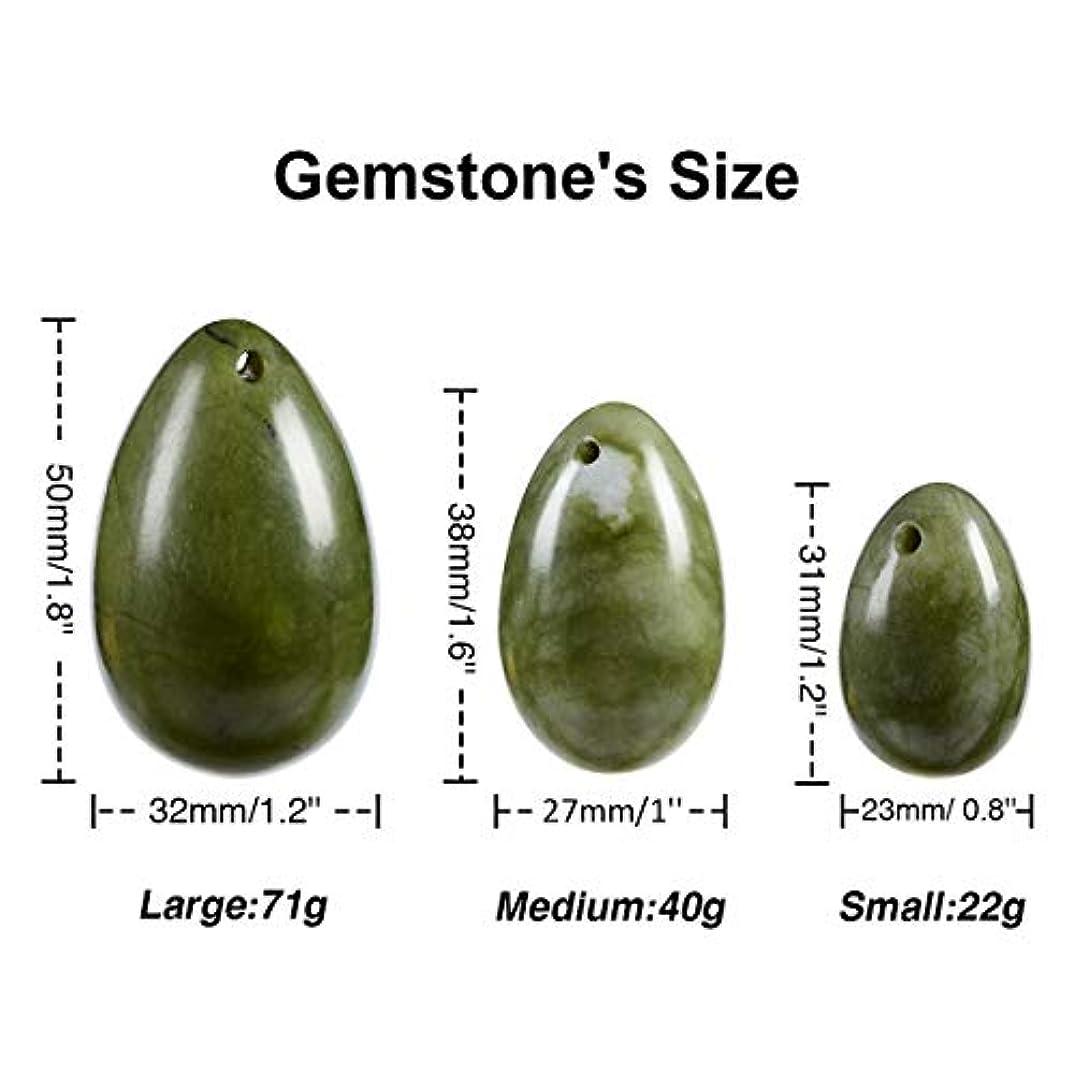 リング創造にやにや3 pcs YONI jade eggs ネフライトジェイドエッグ(翡翠卵)3個セット、健康?癒し?マッサージに効くヒーリングストーン?パワーストーンとして、またはエッグエクササイズ(膣トレ?ケーゲル体操)