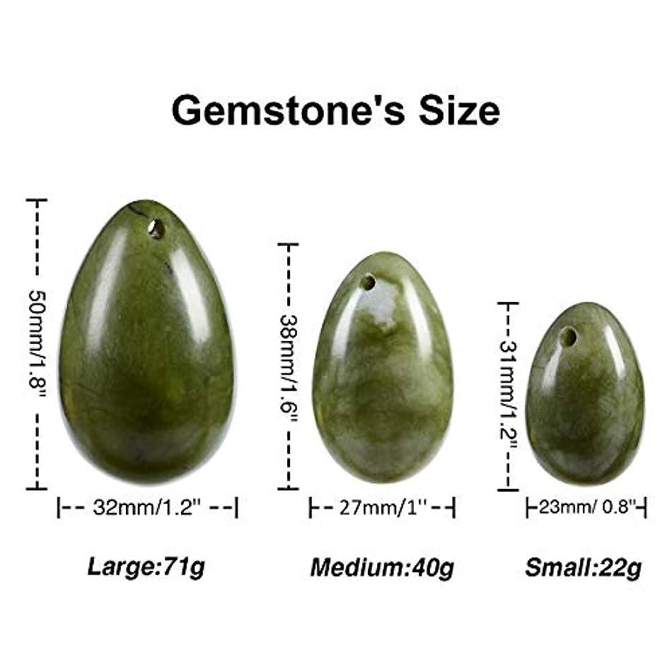 楽しい湿気の多い位置する3 pcs YONI jade eggs ネフライトジェイドエッグ(翡翠卵)3個セット、健康?癒し?マッサージに効くヒーリングストーン?パワーストーンとして、またはエッグエクササイズ(膣トレ?ケーゲル体操)