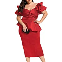 Lalagen Womens Plus Size Ruffle Sleeve Peplum Cocktail Party Pencil Midi Dress