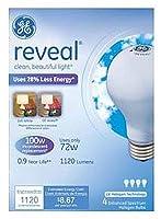 G E Lighting 67774 Reveal ハロゲン電球 ソフトホワイト 72ワット 4パック - 数量:12。