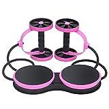 多機能新しいスポーツコアダブルabローラーホイールエクササイズ機器腹部ホイール、ウエストツイストプレートデザイン、腹部フィットネスプルロープ,pink