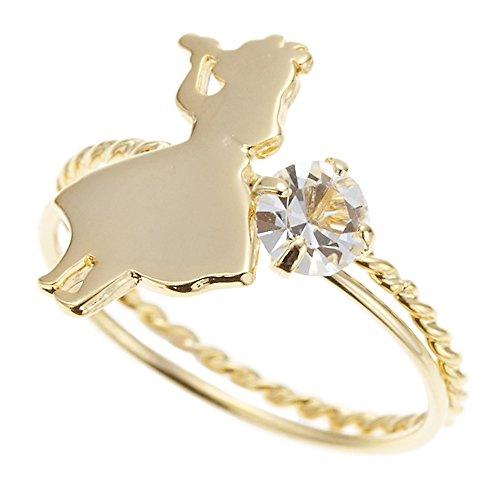 [해외]액세서리 숍 피 에나 스와 로브 스키 여성 반지 세트 핑키 핑키 반지 앨리스 실루엣 일제 골드/Accessory shop Piina Swarovski Ladies Ring set Pinky little finger ring Alice silhouette Japan made gold