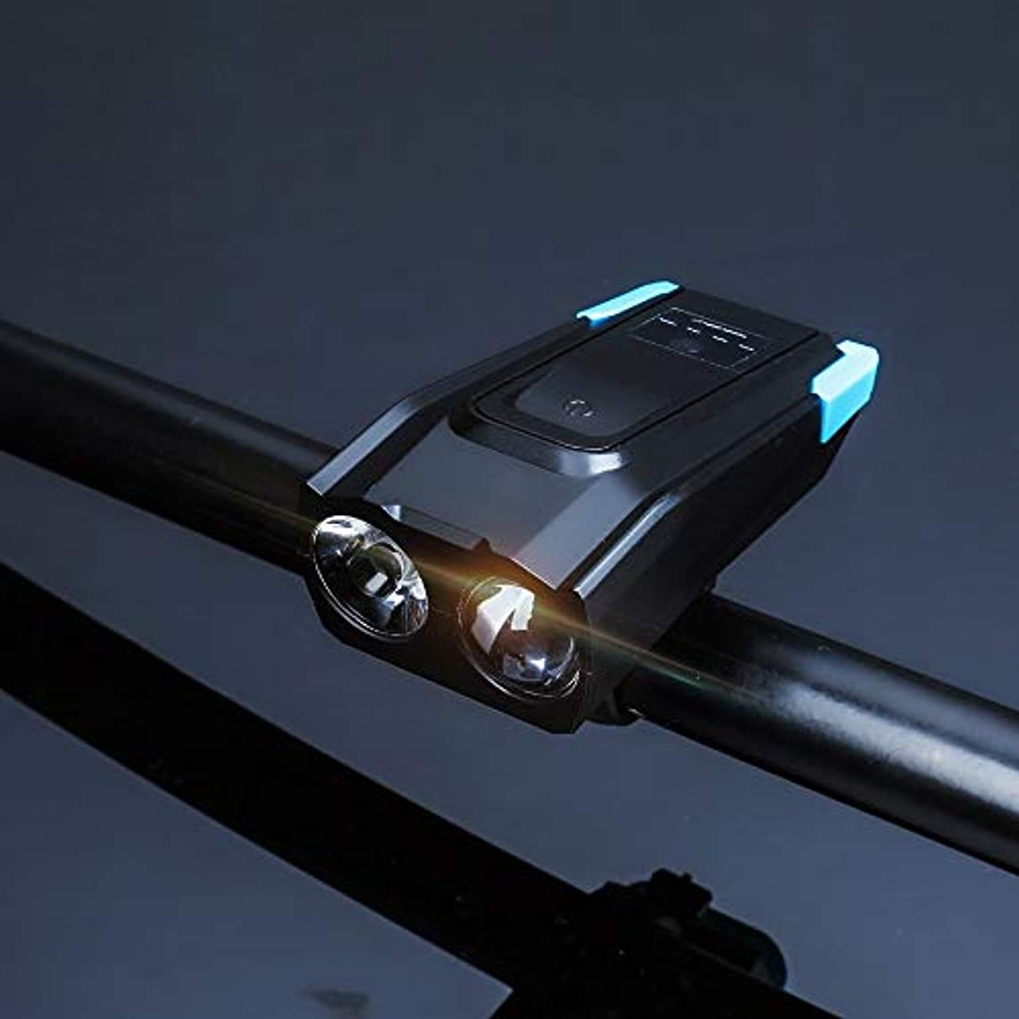 すり減る志すパーフェルビッドLumières de vélo rechargeables スーパーブライト(800ルーメン)充電式自転車ライトセット(ローバッテリーインジケーター付き)、4000mAhリチウムバッテリー、耐水性 - すべての自転車に対応、簡単インストール&クイックリリース(USBケーブル付き) (Color : Blue)