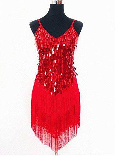 (シンシン)XINXIN ラテンダンス衣装 社交ダンス 豪華 ステージ 競技 演出 練習着 フリンジ ポリエステル 全4色 赤/ネイビー/金/銀 フリーサイズ  赤