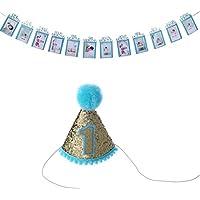 ベビーシャワー誕生日帽子と成長記録1 – 12月Photo Propsホオジロバナー最初誕生日パーティーデコレーション ブルー 2018032602