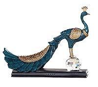 クリスマスギフト、ワインキャビネットの装飾のための欧州の手彫り樹脂孔雀の装飾品 (色 : Ancient blue)