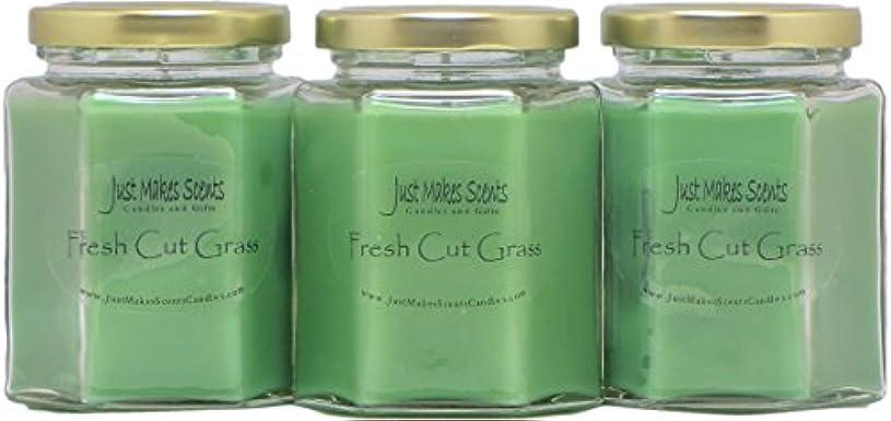 フィールドペチコート国籍Fresh Cut Grass香りつきBlended大豆キャンドル| Grass Fragrance |手Poured in the USA by Just Makes Scents。。。 3 Pack グリーン