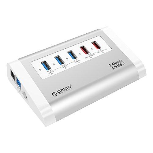 【日本直営店】 ORICO 3ポート HUB USB3.0ハブ 3+2ポート SuperCharger内蔵2急速充電ポート 電源アダプタ VL812チップ搭載 3.3ftケーブル付【スーパーチャージャー搭載】シルバー UH3C2