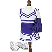 Sophia's Purple Cheerleading Set 46cm Doll Cheerleader 4 Piece Set with Pom Poms and Shoes