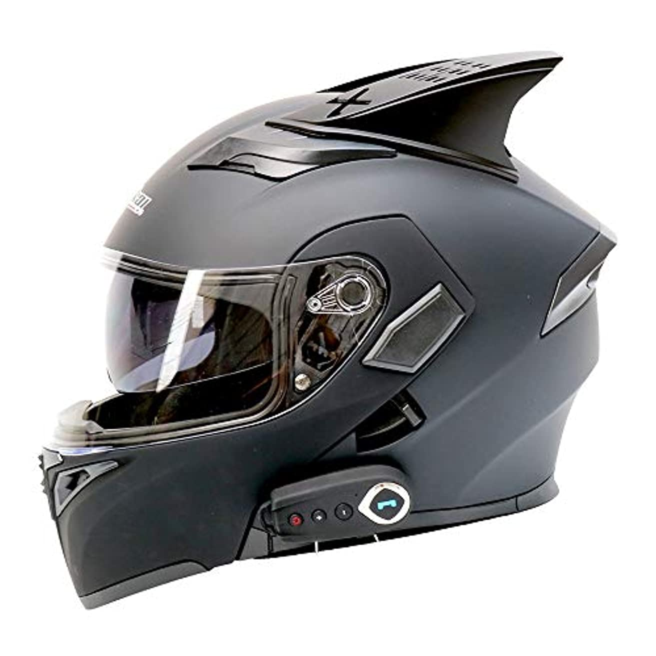 レオナルドダ地質学見分けるZXF 電動オートバイブルートゥースヘルメットブルートゥースオートバイフルフェイスヘルメットダブルレンズオープンフェイスヘルメットフルフェイスヘルメット付きFMベルトホーン - ABS素材 - マットブラック - ラージ 安全 (Size : XXL)