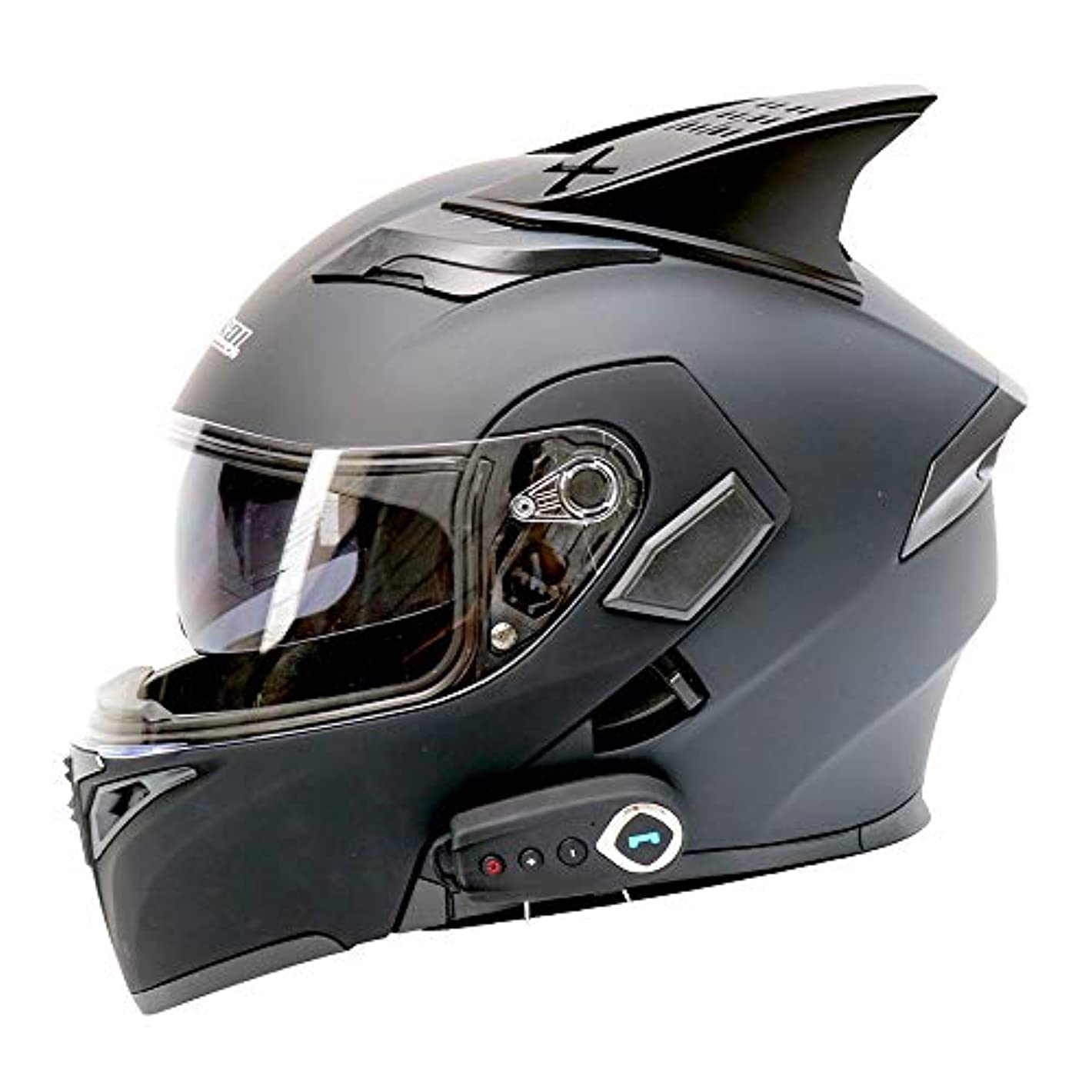 クライアントシェルピースHYH 電動オートバイブルートゥースヘルメットブルートゥースオートバイフルフェイスヘルメットダブルレンズオープンフェイスヘルメットフルフェイスヘルメット付きFMベルトホーン - ABS素材 - マットブラック - ラージ いい人生 (Size : L)