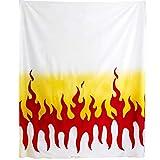 鬼火 ファイヤーパターンプリント 生地 布 コスプレ 白×赤×黄 コスプレ 巾約112cm×3m切売カット IBK99078-7A-3M