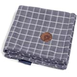 Petface Window Pane Check Pattern Fleece Dog Blanket, Grey