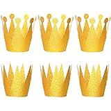 STOBOK グリッターバースデークラウンハット パーティーハット プリンセス王冠 子供と大人用 パーティーデコレーション (ゴールデン) 18個