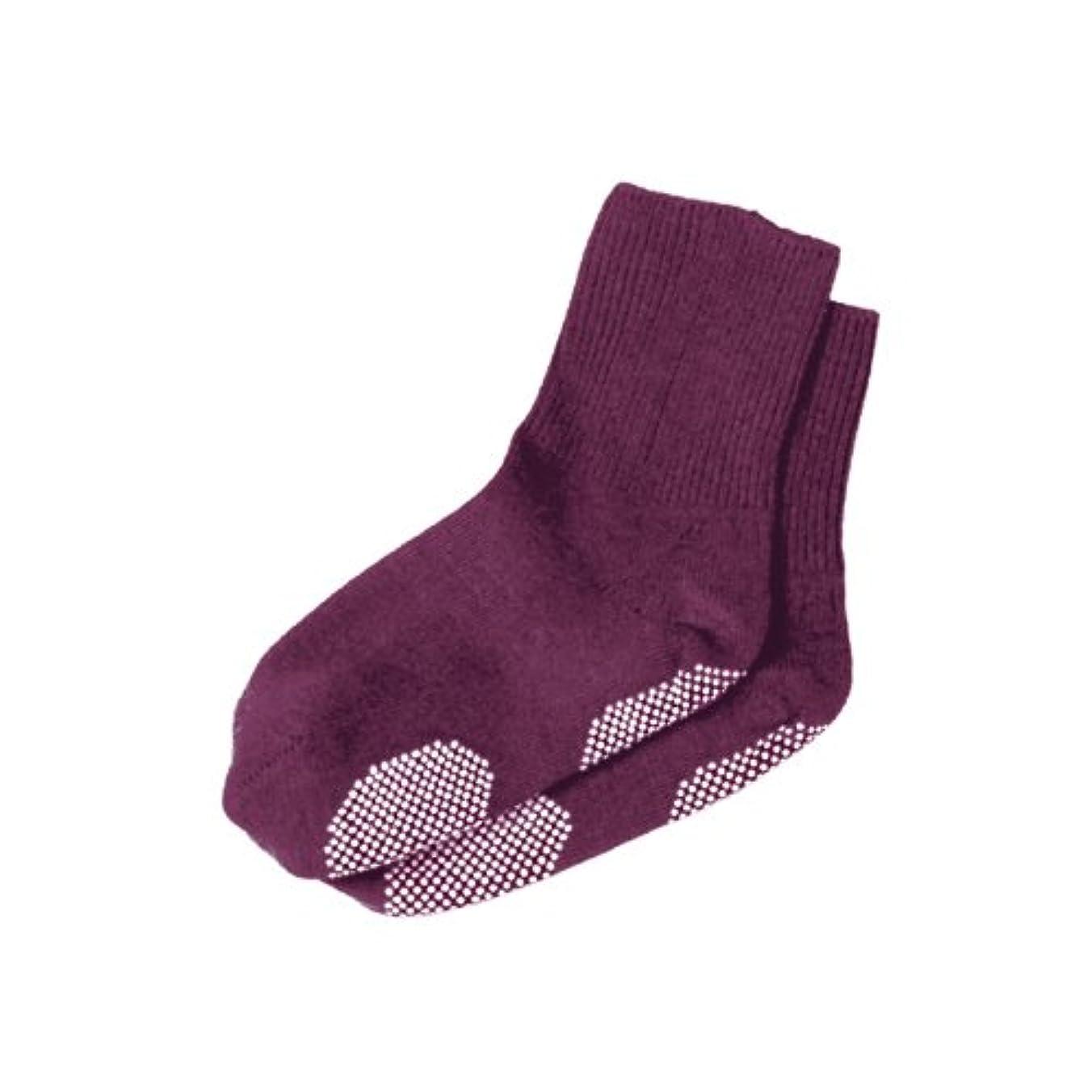 エンゼル 履き口ゆるーい靴下 すべり止め付 22-24cm ローズ
