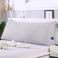 大 ボルスター ヘッドボード 背もたれ 枕,ベイウィンドウ 長い 枕 三角 読ん 枕 ベッド 背もたれ ベッド ソファ と 洗える カバー-シルバーグレー 90x50x20cm(35x20x8inch)