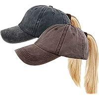UTALY Messy High Bun Women Ponytail-Baseball-Hat Twill Vintage Trucker Ponycap -Without Hair