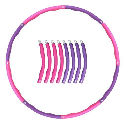 CooFel フラフープ 組み立て式8本 シェイプアップ スポーツ サイズ調整可 エクササイズ ダイエット 直径95cm ピンク&パープル (ピンク&パープル)