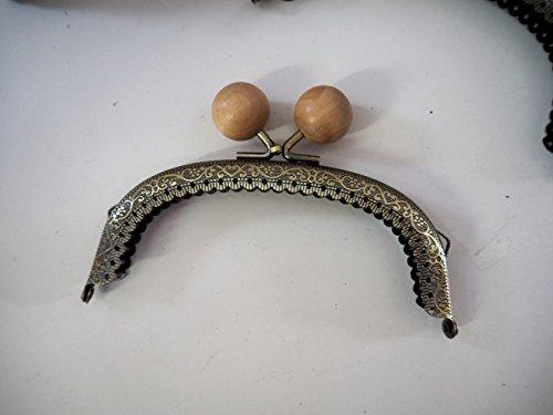 アンティーク風がま口 木玉 口金 セット手芸用品 Teshigotoya (ナチュラル 12.5cm10個)