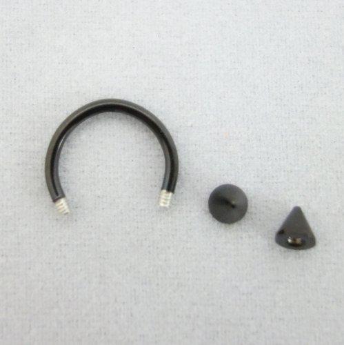 【N2 stone】 サーキュラー・バーベル(蹄鉄型,ていてつ型)サージカルステンレスピアス 黒色(ブラック) 2個セット 18G(1.0mm) / メンズ&レディース