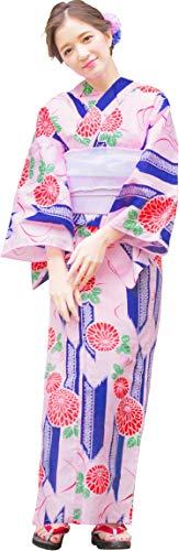 (ディータ) Dita 本格 女性 浴衣 すぐにお出かけフルセット 浴衣本体(ゆかた)・作り帯(つくりおび)・下駄(ゲタ) の基本3点セット+腰ひも(着付け紐)+着付けスタイルブック(冊子) の計5点 フリーサイズ 桃色地に矢絣と菊