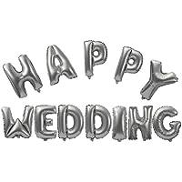 SONONIA 全2色 HAPPY WEDDING 結婚式 箔空気 ヘリウム 風船 ブライダル 結婚式の装飾 光沢のある 飾り物 - シャイニーシルバー