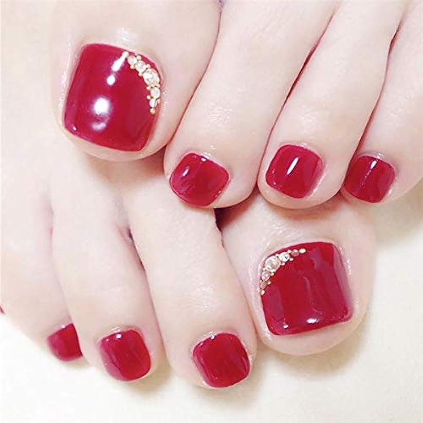 SIFASHION ネイル花嫁 ビーチ パーティー 足の爪のネイルチップ レッドフラッシュドリル 手作りネイルチップ 足指の爪