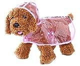 【全5色】 雨 でも お 散歩 犬 用 レイン コート クリア 透明 なので インナー 見せで 重ね着 も S M L XL (ピンク, XL)