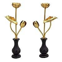 真鍮 金色常花(花立て付き) 1対 【3寸】高さ16.5cm