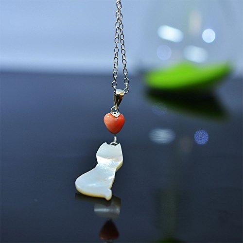 【にゃんこな日々】 猫 後ろ姿 白蝶貝製 ペンダント 桃色珊瑚製 ハート付き