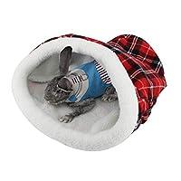 クリスマス帽子ペットの巣のベッド、柔らかい暖かい犬小屋の猫のウサギの寝袋のギフト、サイズ:44 * 52Cm(赤)