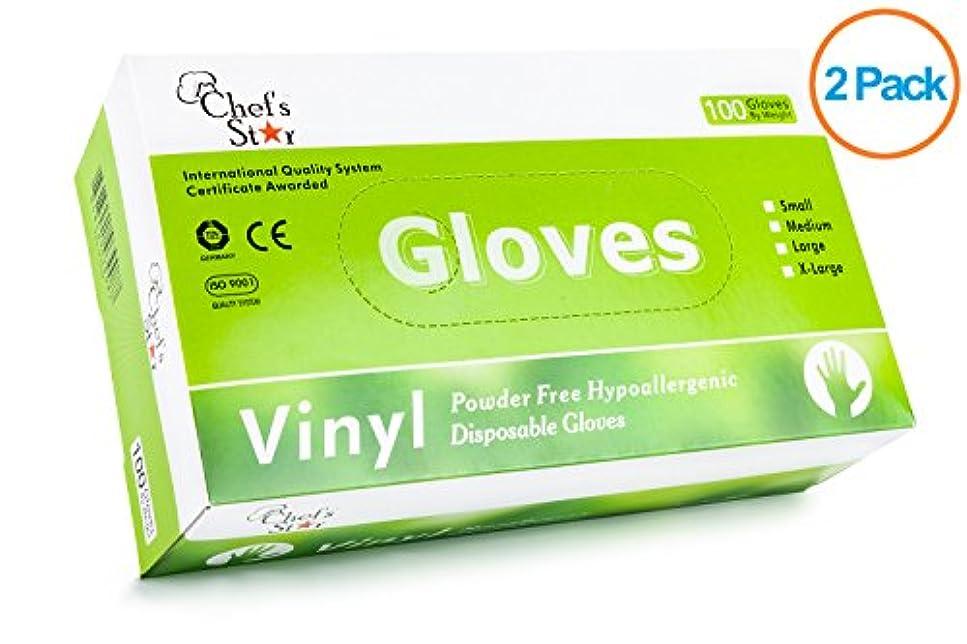弾力性のある有効化時間Chef's Star Disposable General Purpose Vinyl Gloves - Powder Free - Size Extra Large (XL) - 100 Gloves Per Box...